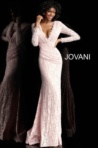 Jovani 68407 embellished lace long sleeve prom dress
