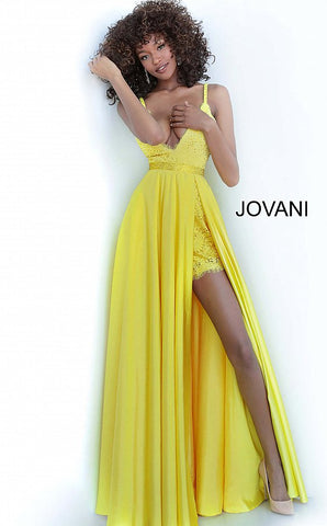 Jovani 68426 Satin and Lace short dress with overskirt prom dress