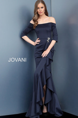 Jovani 68429 Off the Shoulder Three Quarter Sleeve Evening Dress 68429 with gathered skirt and ruffle down the front of the skirt fit and flare design long evening gown with three quarter fitted sleeves.  Black, Navy, Red Sizes 00-24  Navy Off the Shoulder Three Quarter Sleeve Evening Dress 68429