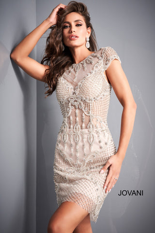 Jovani 68475 Off White Nude Embellished Sheer Bodice Cocktail Dress sheer high neckline and midriff with fitted short skirt. High sheer neckline and cap sleeves with sheer overlay skirt.   Off-White/Nude  Sizes 00-24
