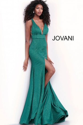 Jovani 68665 Plunging neckline glitter jersey fitted prom dress