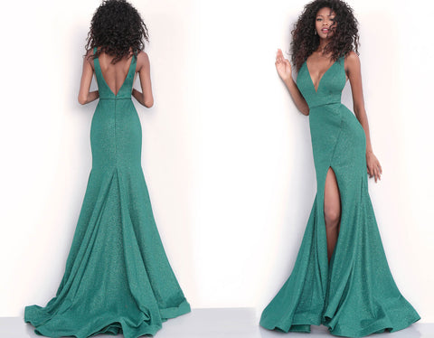 a31d09bb ... Jovani 68665 Plunging neckline glitter jersey fitted prom dress