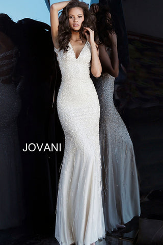 Jovani 68713 Nude Beaded Criss-Cross Open Back Prom Dress evening gown v neckline sequin beaded   Nude Sizes 00-24