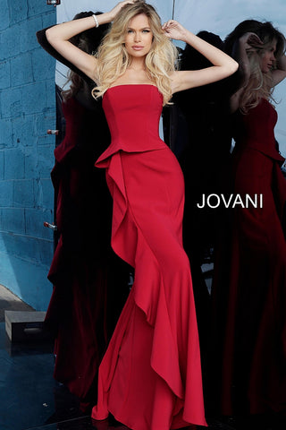 Jovani 68766 Strapless Straight Neck Evening Dress 68766 with ruffle skirt   Black, Cranberry, Navy, Sea-foam  Sizes 00-24  Strapless Straight Neck Evening Dress 68766