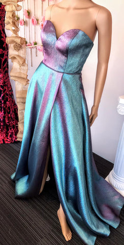 JVN by Jovani 3775 Iridescent Long Prom Dress High Slit A line Sweetheart Neckline - Color Changing Fabric! Evening gown