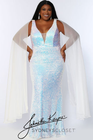 Johnathan Kayne for Sydney's Closet JK 2109 Aurora fitted plus sized sequin mermaid prom dress with shoulder capes.  The flowy scarves on this pageant gown are detachable.  This long evening gown has a plunging v neckline with a mesh panel.   JK2109