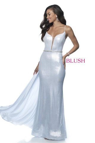 Blush Prom 11983 size 16 White Liquid Shimmer mermaid prom dress with overskirt