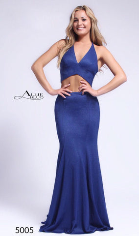 Allie Blu  5005 Royal Size 4 Two piece Long prom dress