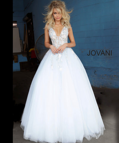 Jovani 11092 floral embellished plunging neckline tulle prom dress ball gown evening dress. Long Sheer floral lace applique embellished formal ball gown evening. Prom Dress, Pageant Gown.  Light blue tulle prom ballgown with floral embroidered bodice featuring a sheer sleeveless bodice, plunging neckline and low v-shaped back with zipper, floor-length A-line skirt. Available colors:  Blush, Light Blue