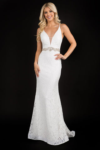 Nina Canacci 2299 plunging v neckline long lace wedding dress prom evening gown with embellished waistline and sweeping train, sheer lace back. Color: Ivory  Sizes: 0,2,4,6,8,10,12,14,