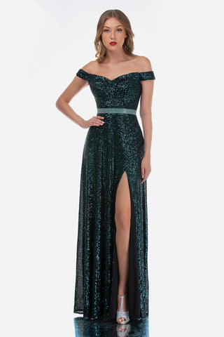 Nina Canacci 7026 Sequin Off the Shoulder Fitted Prom Dress Evening Gown Slit