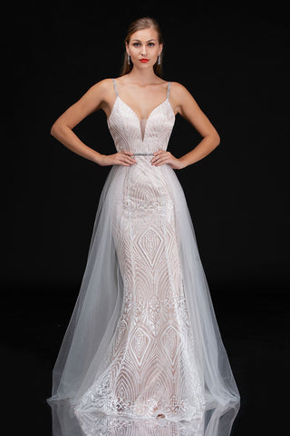 Nina Canacci 7028 Long Embroidered Lace wedding Dress Over skirt Sexy Ivory