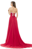 Johnathan Kayne 7076 Size 4 Red Sweetheart corset Dress pageant prom dress Train