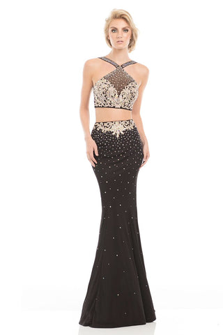 Johnathan Kayne 7079 Prom dress pageant jersey gown Black/Gold size 4