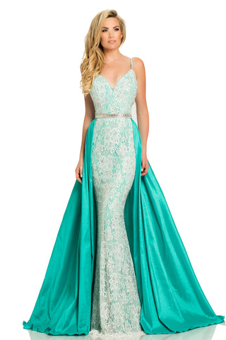 Johnathan Kayne 7242 Embellished Lace V Neck Pageant Gown Prom Dress 2020 Skirt