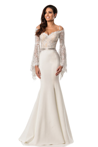 Johnathan Kayne 7244 Lace Bell Sleeve Crystal Embellished Pageant Gown Prom Dress off the shoulder Lace Crystals Glass Slipper Formals Long Gowns