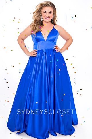 Sydneys Closet 7270 V neckline with courtesy panel satin long A line prom dress evening gown pageant dress plus sized military ball gown formal dress