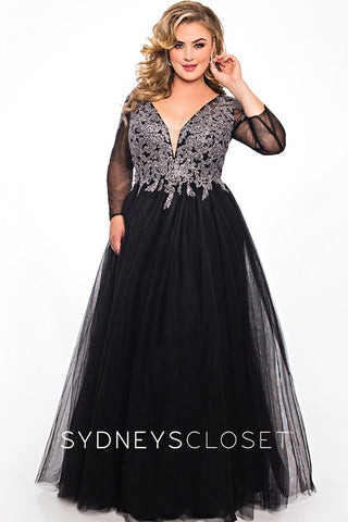 Sydneys Closet SC 7299 sheer sleeves tulle prom dress ball gown