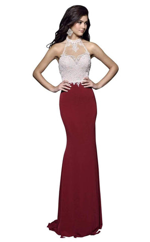 Nina Canacci 7369 size 2 Burgundy embellished high neckline backless fitted long prom dress evening gown   Burgundy   Size 2