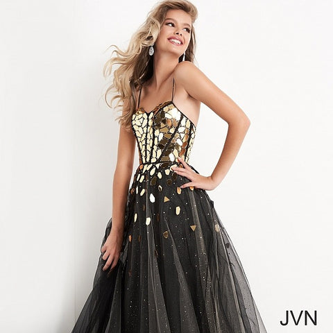JVN05737 cut glass A line prom dress evening gown sweetheart neckline corset tie back ball gown Color  Black/Gold  Sizes  00, 0, 2, 4, 6, 8, 10, 12, 14, 16, 18, 20, 22, 24  JVN by Jovani 05737