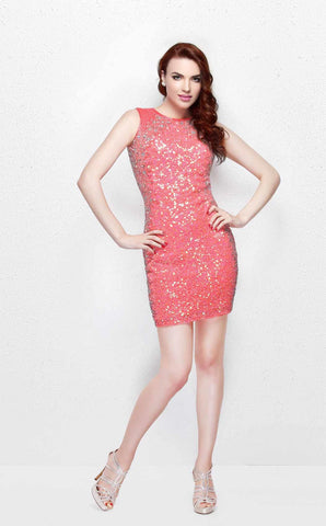Primavera 1629 is a sexy sequin cocktail dress featuring a keyhole open back and high neckline. Coral size 4
