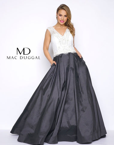 Mac Duggal Fabulouss 77250 Black/White size 24 Prom Dress Pageant Gown