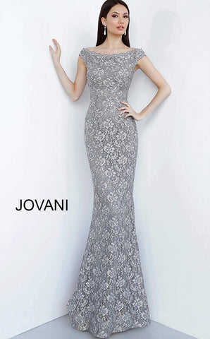 Jovani 78595 boat neckline fitted lace evening gown