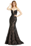Mac Duggal 79252M - 79252 Have heads turning right when you put on this chic dress! Style 79252M is a mermaid lace gown with spaghetti straps and a v-neckline. This black gown is the perfect combination of sexy & sweet. This Mac Duggal Prom Collection 79252M black prom gown is styled in metallic lace, featuring a corset bodice with a deep-notched neckline and spaghetti straps. This semi-trumpet dress is completed with soft godets that spill to a horsehair hem and court train. Prom, Pageant, Sexy. Plunging n