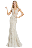 Mac Duggal 79268M - 79268 This Mac Duggal Prom Collection 79268M ivory nude formal dress features a beaded floral-appliqued mesh bodice with a sheer Sabrina neckline and illusion back. A beaded waistband tops the fully lined lace skirt, finished with soft godets that spill to the horsehair hem and sweep train. Three-dimensional flowers decorate the shoulders