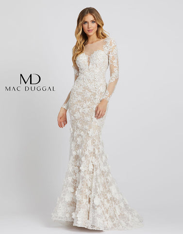 Mac Duggal 79272D - 79272 is a long fitted lace formal evening gown. Featuring a sheer plunging illusion neckline with long sheer lace sleeves. 3D Floral Appliques embellish the trumpet skirt on this mermaid wedding dress, prom & Pageant Gown. Sweeping train. covered with stunning lace and has long sleeves and a sheer illusion sweetheart neckline. allover lace, with a sheer bateau neckline, long sleeves, and illusion back.