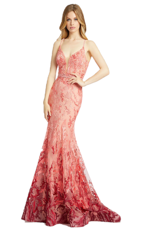 Mac Duggal 79288M - 79288 Make a statement in this ombré coral mermaid gown. Style 79288M has a lace overlay, spaghetti straps, simple beading, and a v-neckline. This lively gown flows into a court train and will make you stand out on your special night!!! Great ombre floral formal evening gown. Plunging neckline. Fitted mermaid Pageant Dress, Sheer fitted bodice. Prom, Pageant & More! Embellished spaghetti straps.  Available Sizes: 0,2,4,6,8,10,12,14,16  Available Colors: Coral
