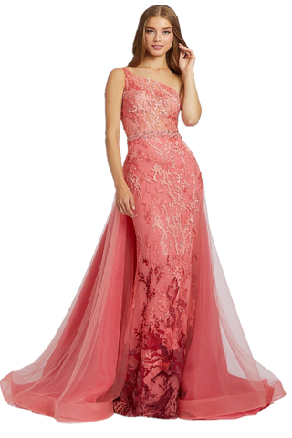 Mac Duggal 79290M - 79290 Be a showstopper in this captivating light coral mermaid gown. Style 79290M has a lace overlay, asymmetrical neckline, embellished belt, and a caped overskirt to create a dramatic look. Celebrate your night in style wearing this beautiful dress. This Mac Duggal Prom Collection 79290M light coral prom gown is fashioned in beaded ombre embroidery, with an illusion bodice and one-shoulder neckline. A beaded rope waistband accents this fitted formal dress, finished with a tulle overski