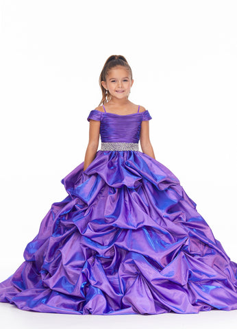 Ashley Lauren 8035 Perfect in purple! This off the shoulder girls and preteens two tone satin pageant dress ball gown features small spaghetti straps and is accented with a ruched bodice. The bodice gives way to a beautifully embellished crystal belt. The pick-up skirt with train completes the look.  Colors Purple  Sizes  4, 6, 8, 10, 12, 14  Off Shoulder Crystal Beaded Belt A-Line Pickup Skirt
