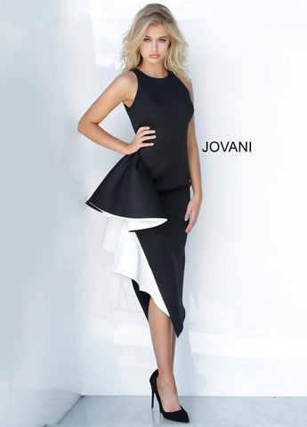 Jovani 00572 black and white tea length formal cocktail dress