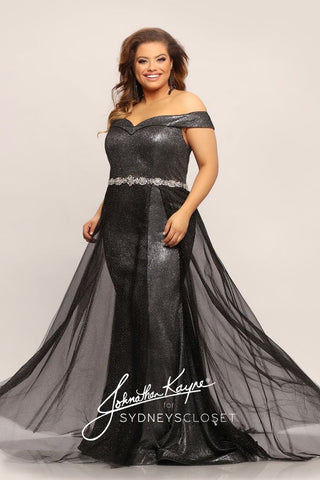 Johnathan Kayne for Sydneys Closet JK2011 Aston off the shoulder shimmer plus size prom dress with flowy over skirt and embellished waistline evening gown