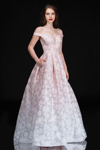 Nina Canacci 1503 Ombre Off the Shoulder Shimmer Brocade Ballgown Dress Pockets