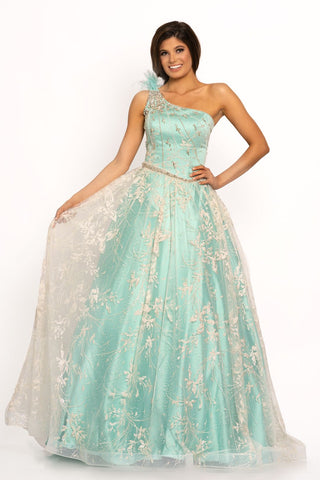 Johnathan Kayne 2208 One shoulder glitter A line prom dress ball gown with feather detail on the shoulder.  This long pageant gown features caviar glitter mesh and an asymmetrical embellished princess waistline.  Colors Aqua, Light Champagne  Sizes  00, 0, 2, 4, 6, 8, 10, 12, 14, 16
