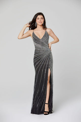 Primavera Couture 3403 v neckline wrap style beaded evening gown prom dress with side slit with open cross tie back spaghetti straps