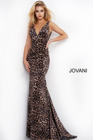 Jovani 8011 is a long fit & Flare Animal Print Formal Evening Gown. Featuring a V Neckline with wide straps. Fitted satin bodice with a trumpet skirt and lush sweeping train. Great prom, Pageant & Formal Gown for any Occasion! Open V Back. Available Sizes: 00,0,2,4,6,8,10,12,14,16,18,20,22,24  Available Colors: Animal Print