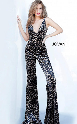 Jovani 8012 Animal Print Plunging V Neck Prom Jumpsuit Pageant Wide Leg 2020