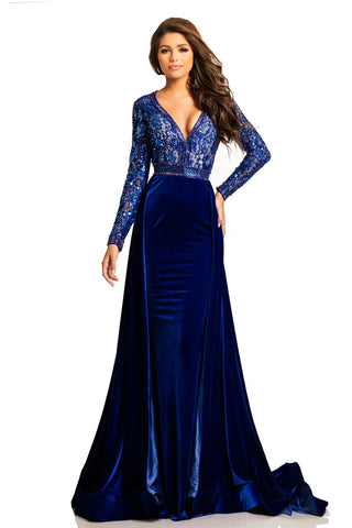 Johnathan Kayne 8013 long sleeve open back long dress in Black, Ivory, Red, Royal