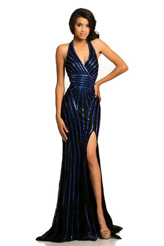 Johnathan Kayne 8016  halter neckline long dress in Black / Rose, Black / Royal, Red