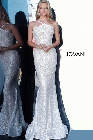 Jovani 8081 Long Lace Backless Fitted Prom Dress 2020 Wedding Gown Bridal Ivory