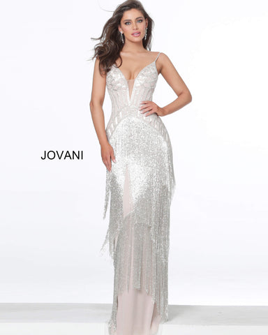 Jovani 8101 This evening gown is a silver nude prom dress features a fitted silhouette with linear sequin beadwork on the bodice and tiered fringe trim along the long skirt.  Spaghetti straps support the mesh insert plunging neckline and the open V-back. Make a statement at your next pageant or special event.  Color  Silver/Nude  Sizes  00, 0, 2, 4, 6, 8, 10, 12, 14, 16, 18, 20, 22, 24