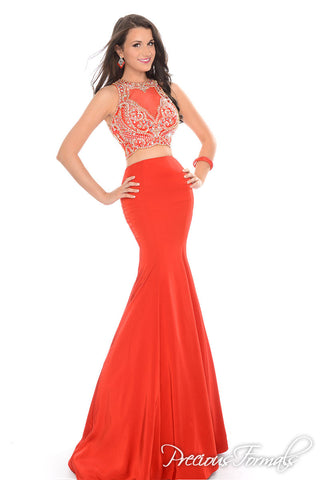 Precious Formals 81014 Size 4 Two Piece mermaid prom dress Sheer Embellished