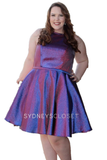 Sydney's Closet 8103 Short Metallic Shimmer Fit & Flare Plus size Cocktail Homecoming Dress. Features Pockets & a Fabulous Color Shifting Mikado! Great for a short prom dress, graduation & almost any formal occasion!