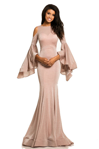 Johnathan Kayne 8111 Backless Bell Sleeve Metallic Shimmer Mermaid Dress Formal