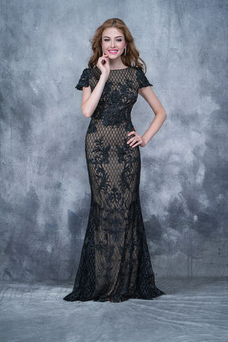 Nina Canacci 8150 high neckline short lace sleeves long embellished lace dress in Black size 16