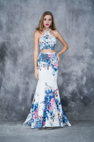 Nina Canacci 8152 two piece halter floral mermaid prom dress in Print size 2