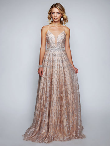 Nina Canacci 8172 iridescent shimmer v neckline A line prom dress evening gown  Available colors:  Rose Gold, Navy  Available sizes:  00, 0, 2, 4, 6, 8, 10, 12, 14, 16, 18
